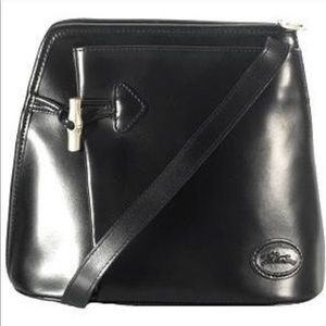 Black smooth leather Longchamp Roseau shoulder bag